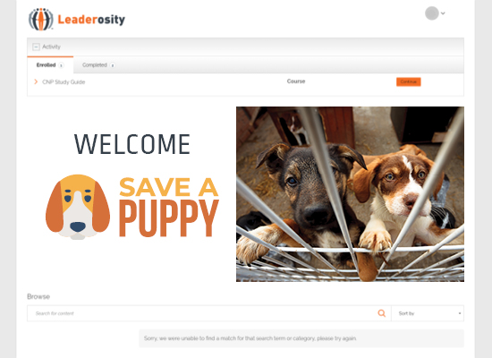 Save a Puppy rescue used a learning management system for nonprofits to organize volunteers.